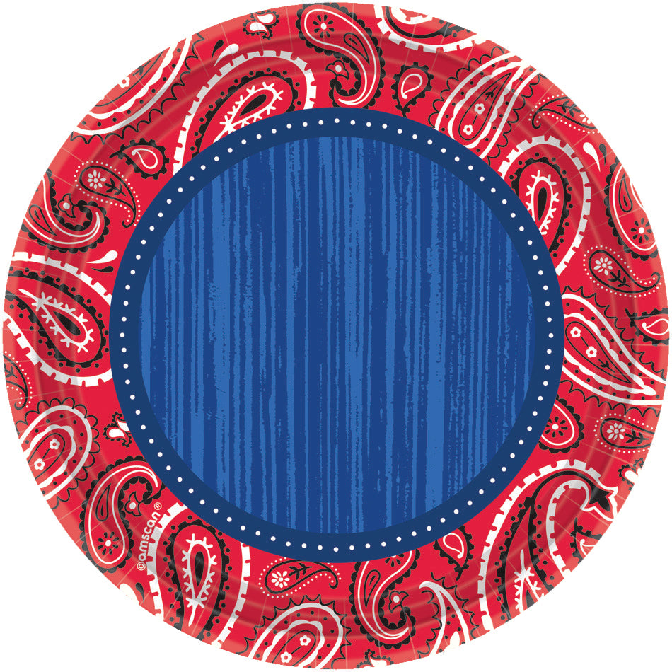 BANDANA & BLUE JEANS PLATES 7IN, 8PCS - House of Party Kenya