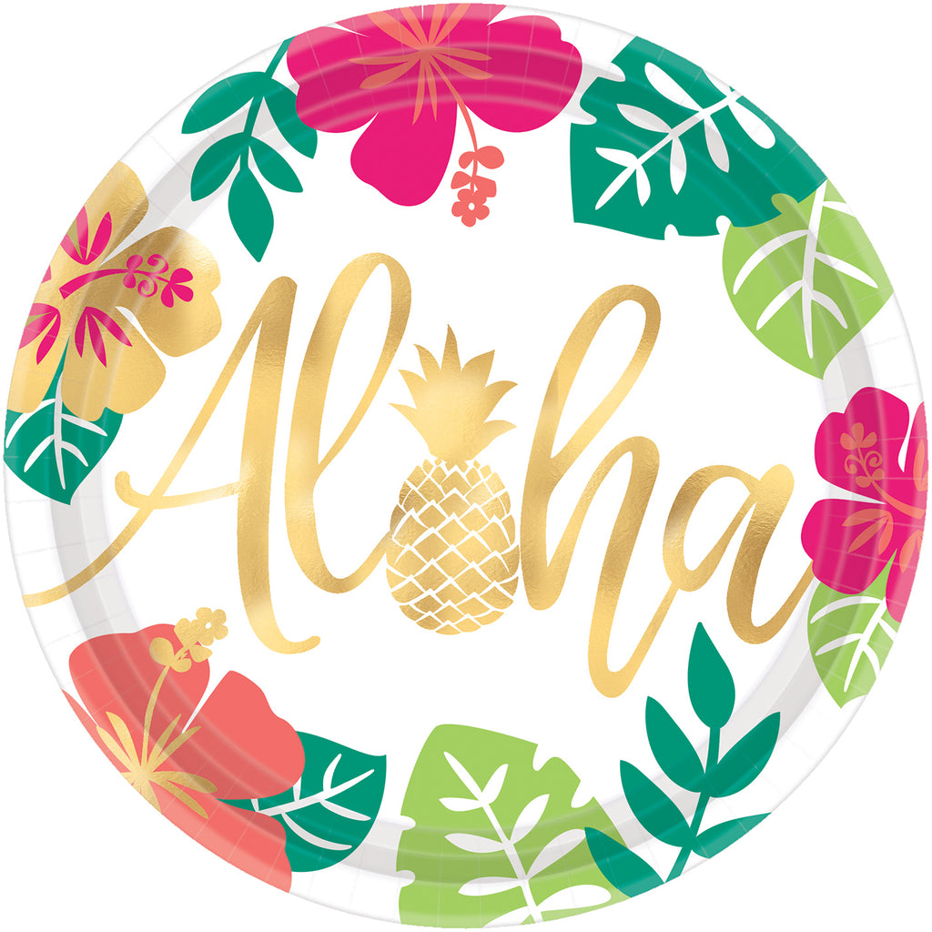 ALOHA METALLIC ROUND PAPER PLATES, 10.5in, 8pcs - House of Party Kenya