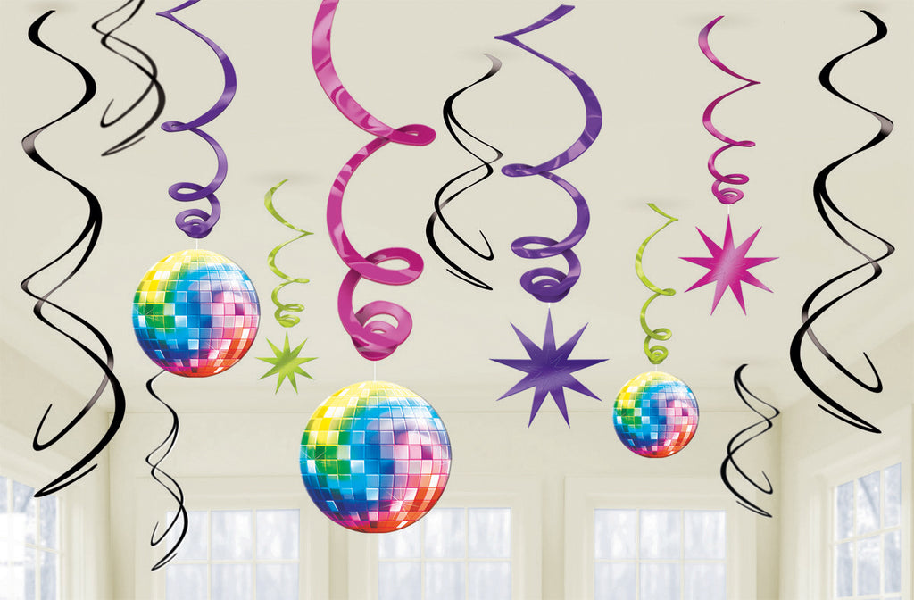 DISCO FEVER SWIRL DECORATION VALUE PACK 12PCS - House of Party Kenya
