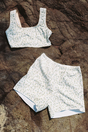 Organic Cotton Shorts by Terra Dea in Mimosa Print