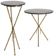 Shagreeen Grey Tall Side Table with Bamboo Legs