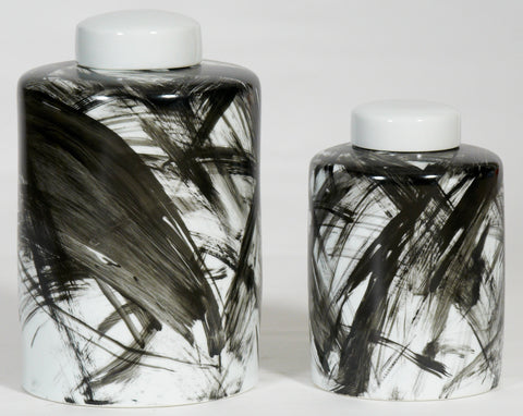 Black and White Streaked Jar