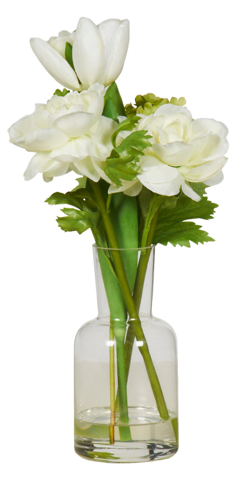 White Flower arrangement in glass vase