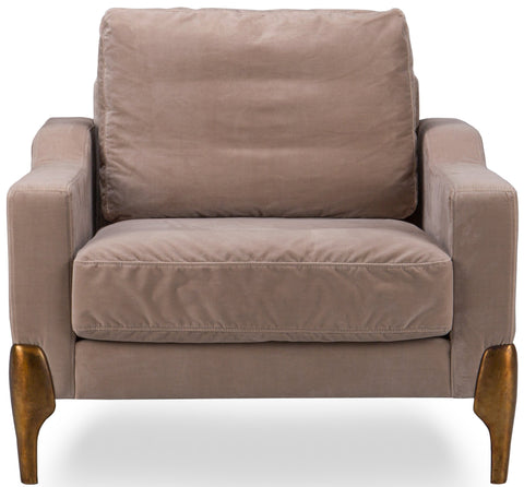 Lorreto Sofa Burnished Copper Legs Single Seater