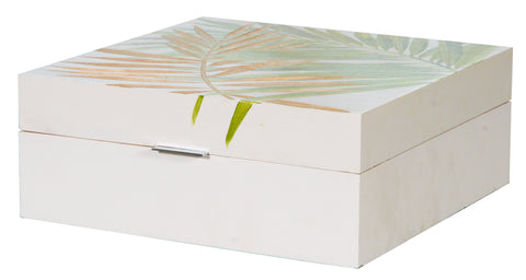 Handpainted Green Leaf Keepsake Box