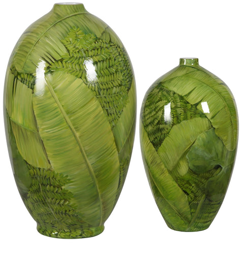 Jungle Leaf Short Neck Vase