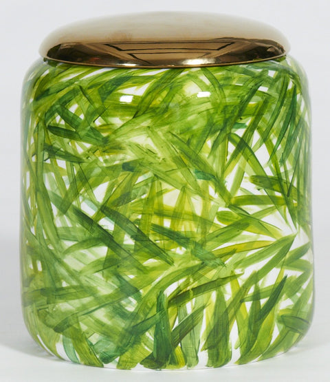 Areca Palm Jar with Golden Lid
