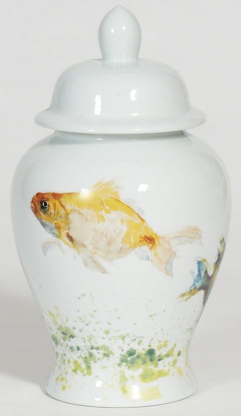 Fish Ginger Jar with White Lid