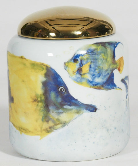 Fish Short Jar with Gold Lid