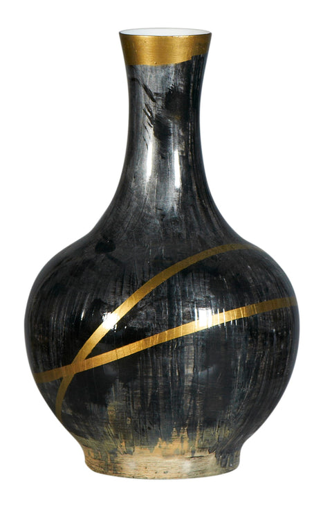 Ribbon Black and Gold Vase
