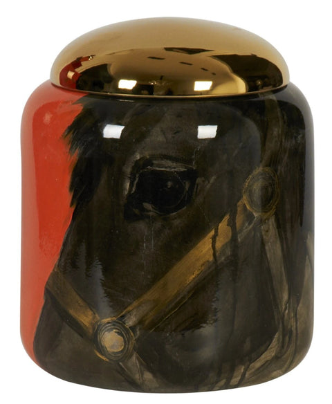 Youngster Orange Jar with Gold Lid