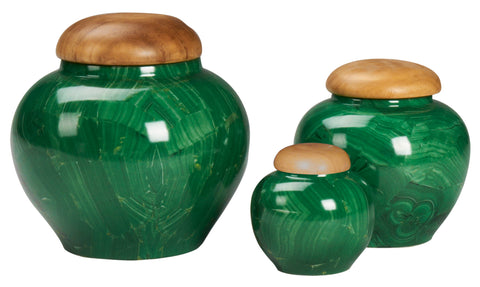 Malachite Jar with Wooden Lid