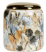 Floral White Jar with Golden Lid