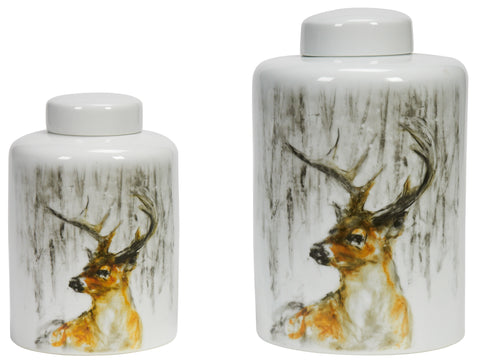 Deer White Jar with White Lid
