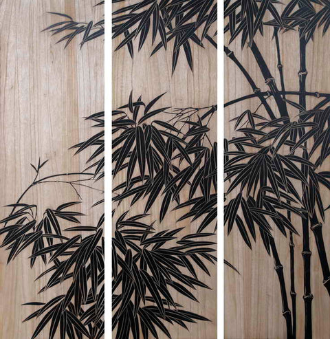Bamboo Branches on Wall Panels