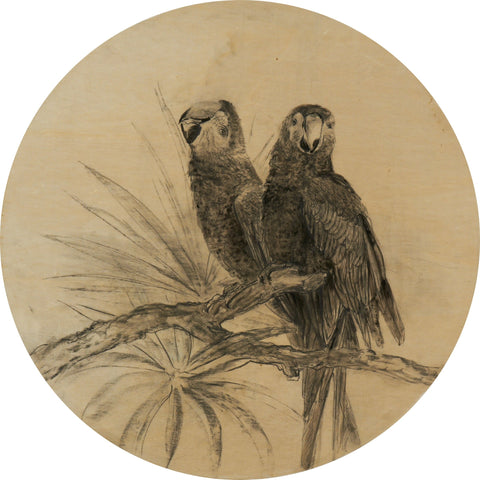 Paired Birds on Circular Wall Art