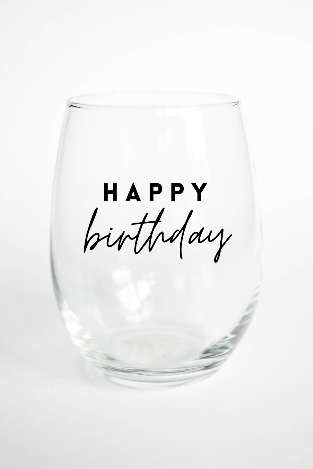 Happy Birthday - Stemless Wine Glass