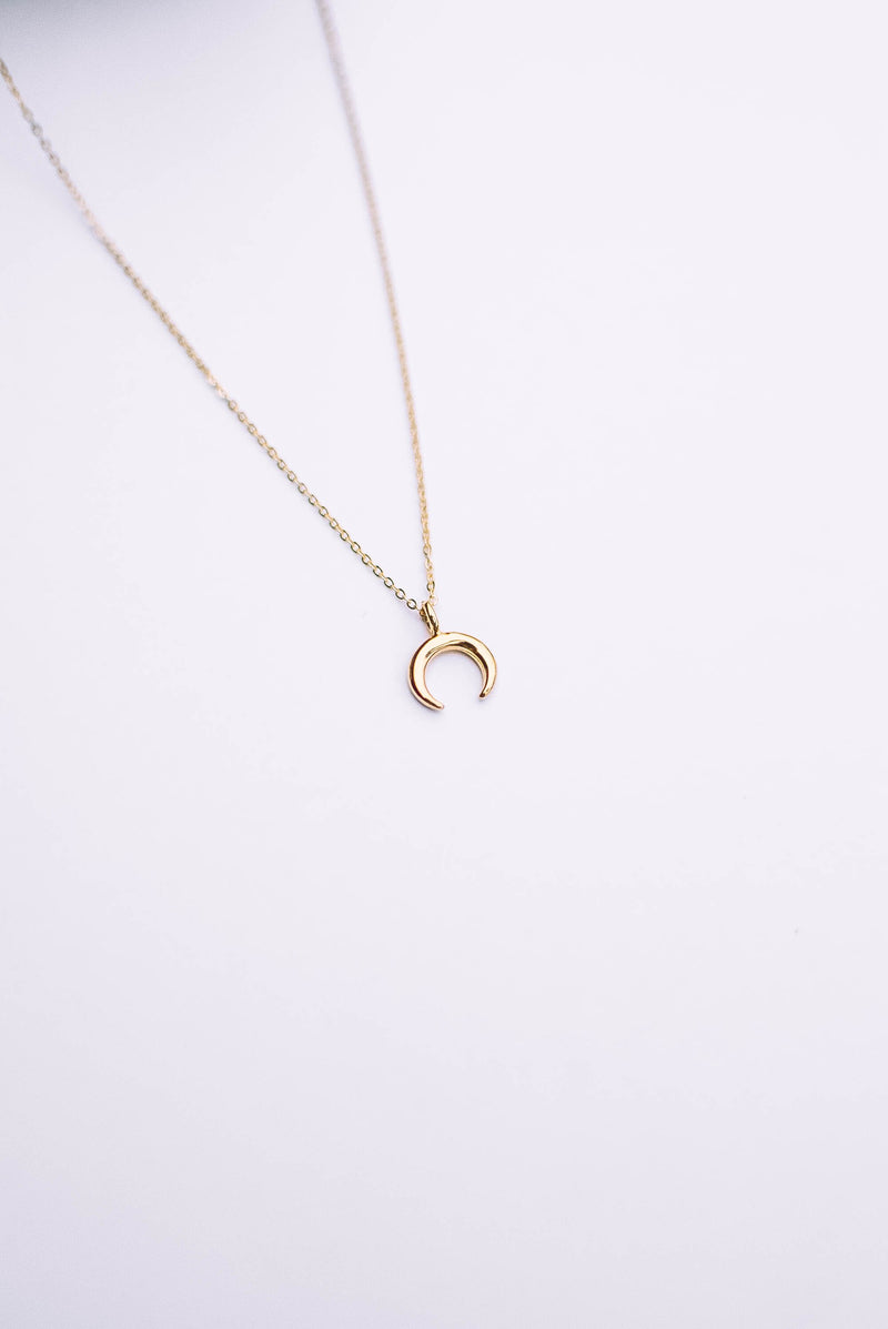 Mini Crescent Moon Necklace - Gold Filled