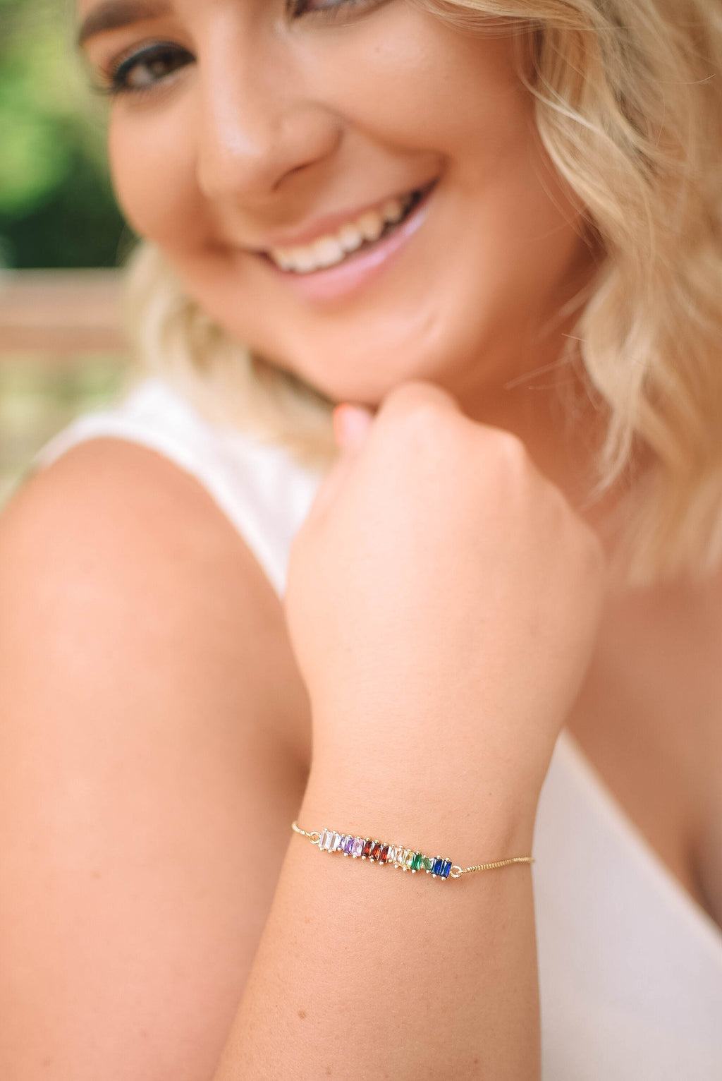 Rainbow Shimmer Bar Slider Bracelet - Mint Pop Shop