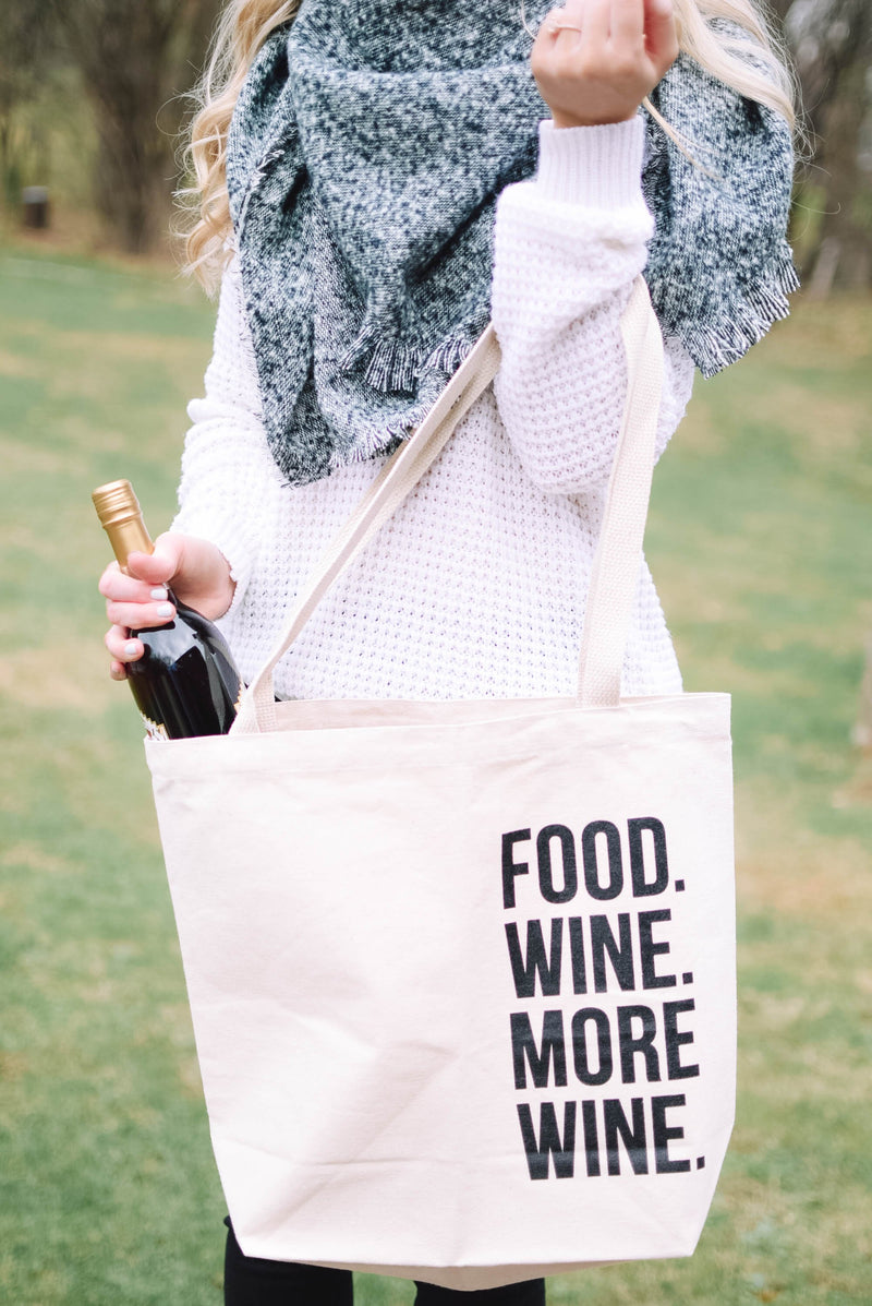 'Food. Wine. More Wine.' - Canvas Tote