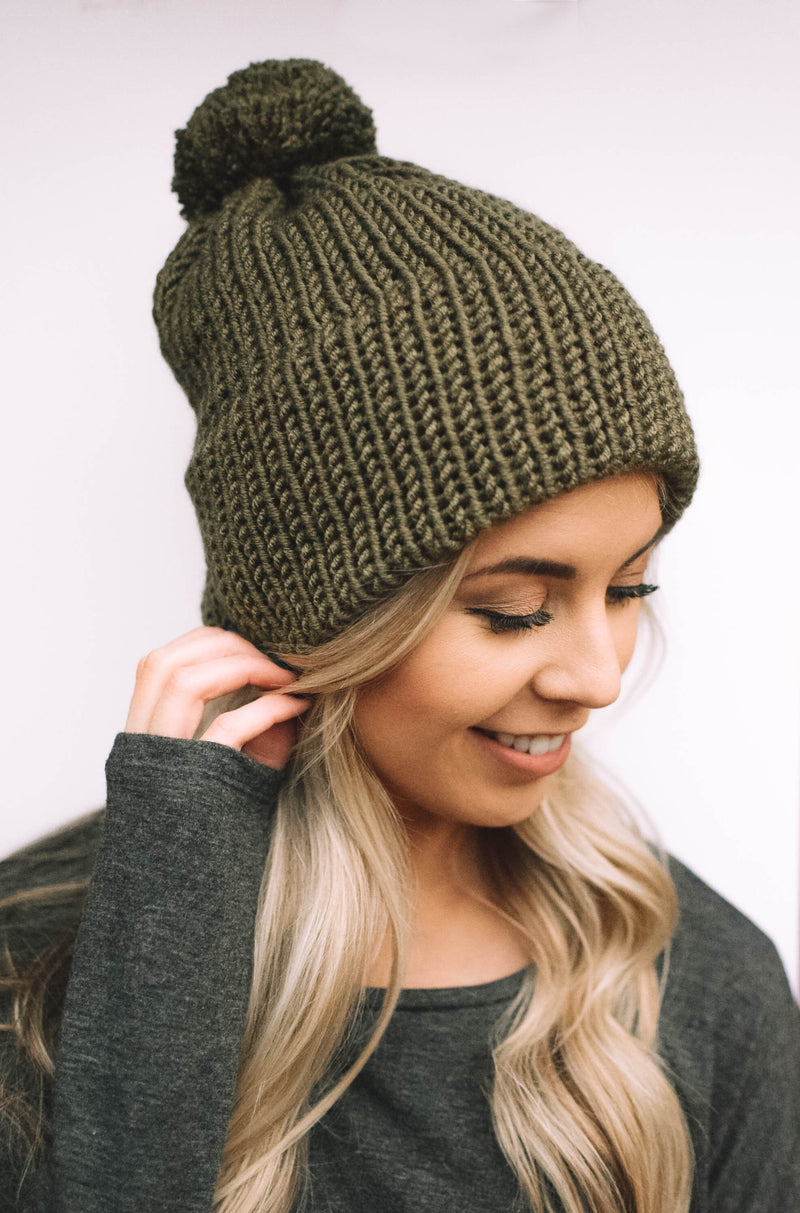 knit winter beanie olive