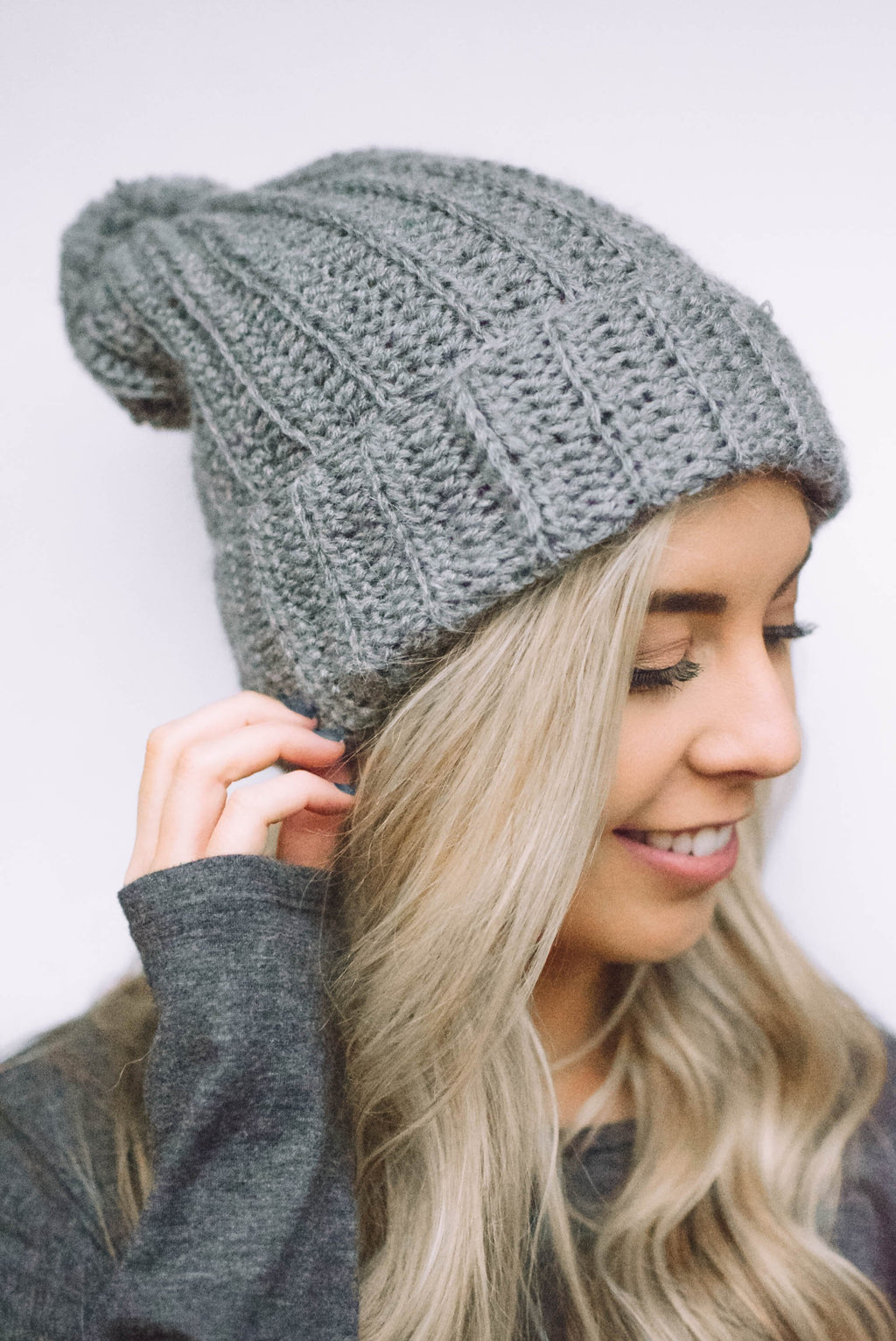 knit winter beanie grey