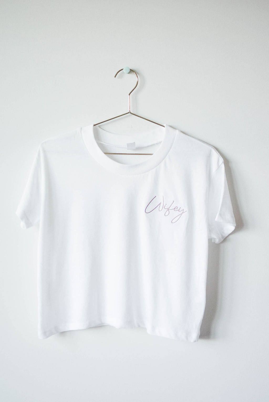 Wifey Cropped Embroidered Top