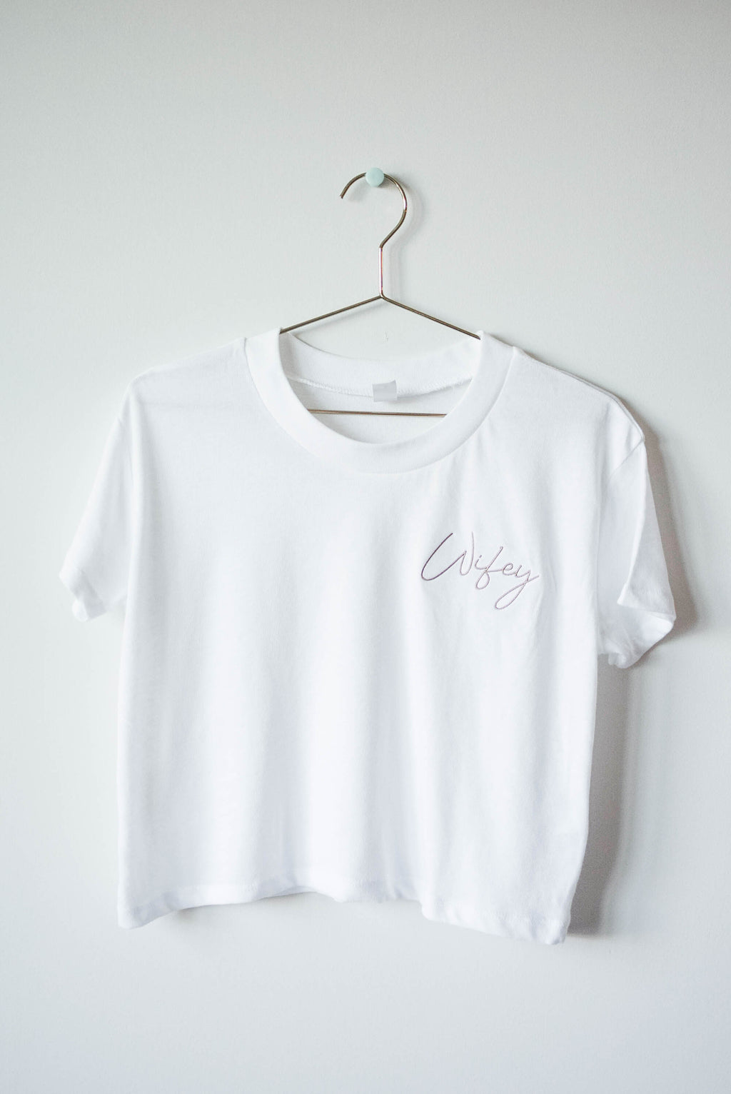 Wifey Cropped Embroidered Tee