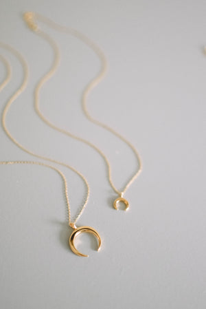 Long Crescent Moon Necklace - Gold Filled
