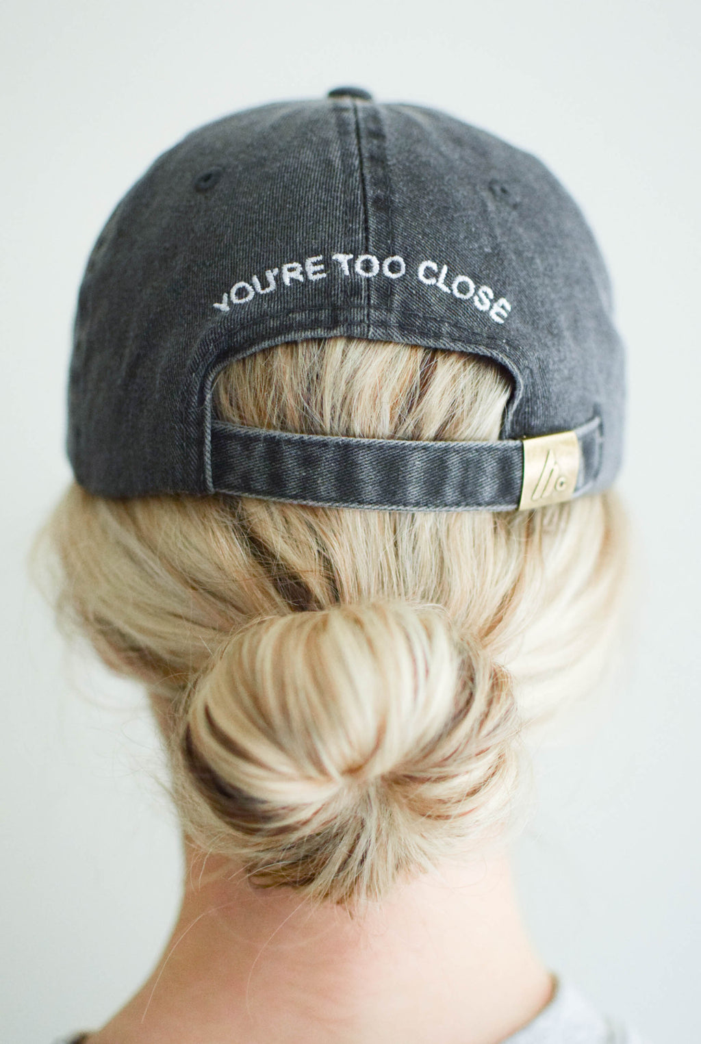 'You're Too Close' Baseball Hat - Vintage Black