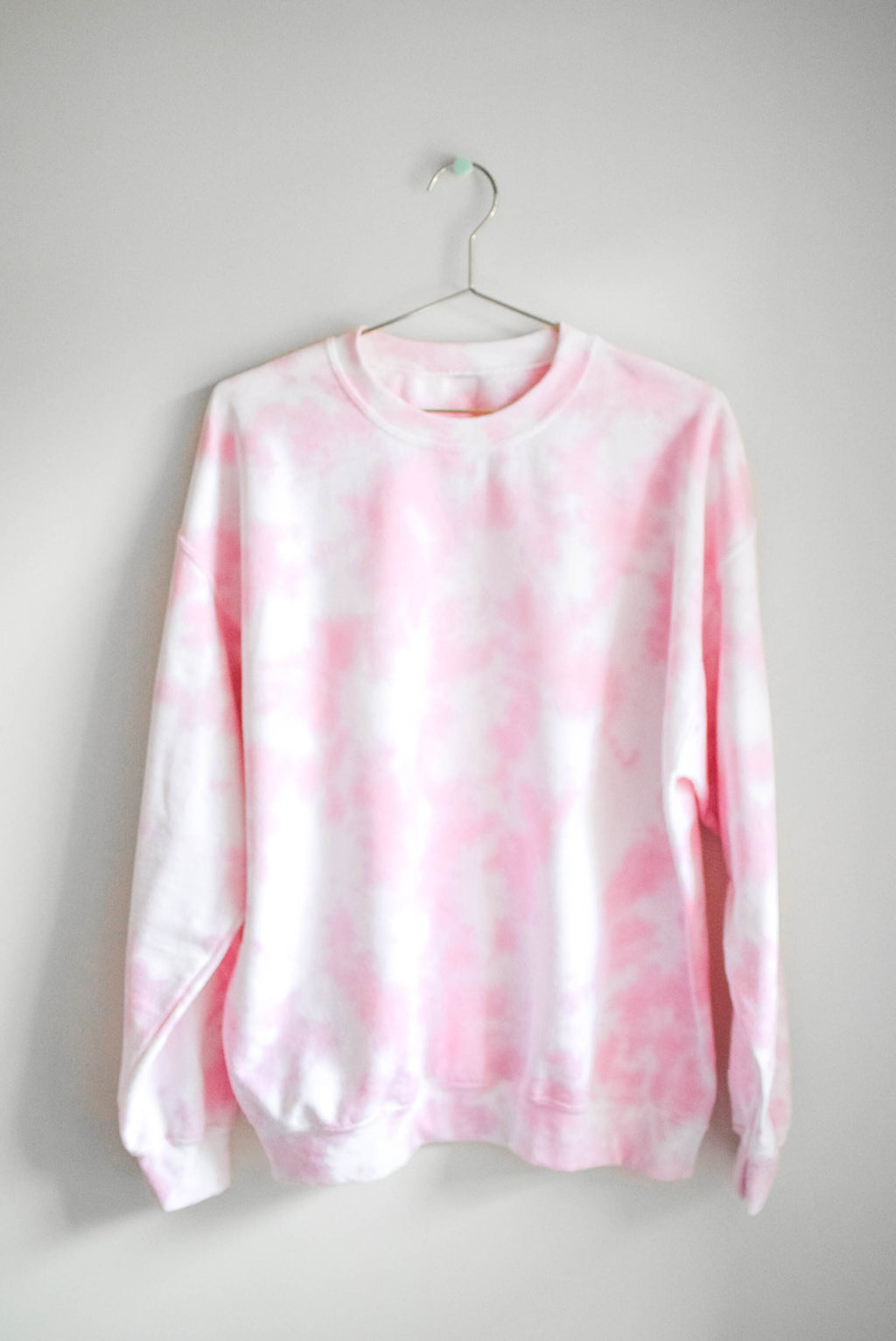 Pastel Tie Dye Sweatshirt - Pink Clouds - LARGE