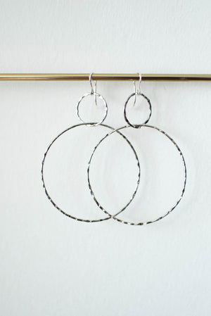 Double Hammered Hoop Earrings - Silver