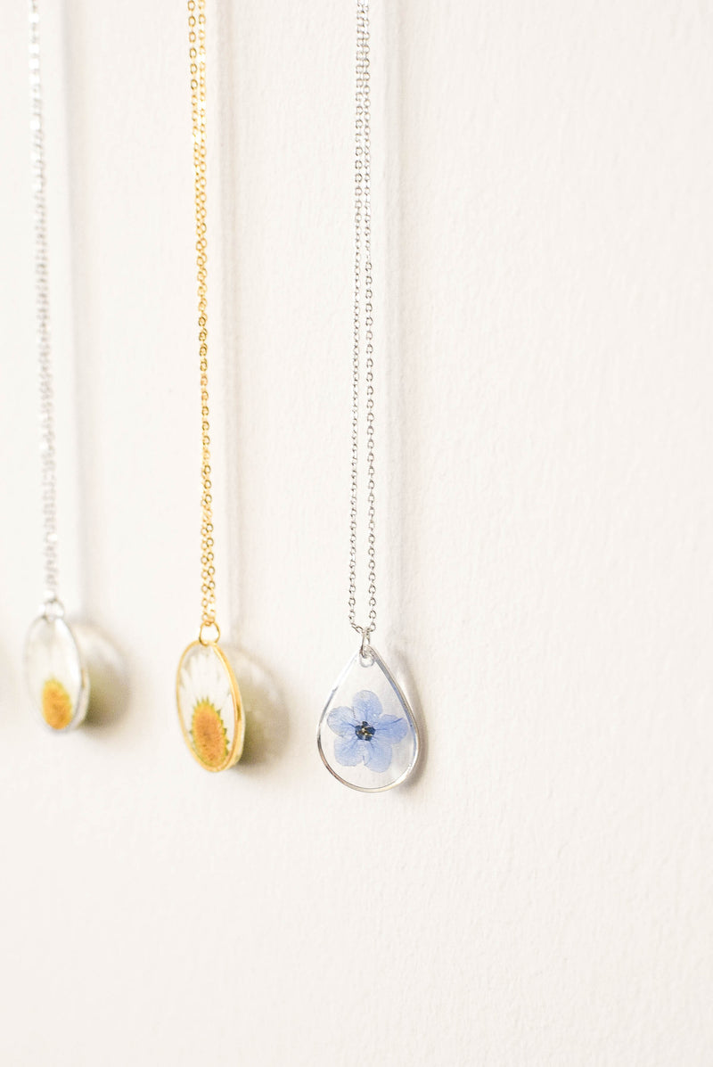 Forget Me Not - Pressed Flower Necklace (Silver)