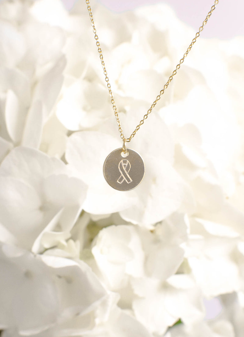 Breast Cancer Ribbon Engraved Necklace - Breast Cancer Research