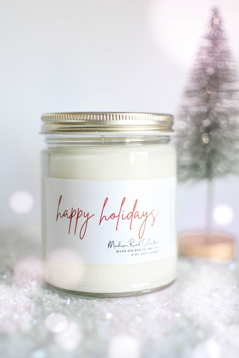 happy holidays candle gift