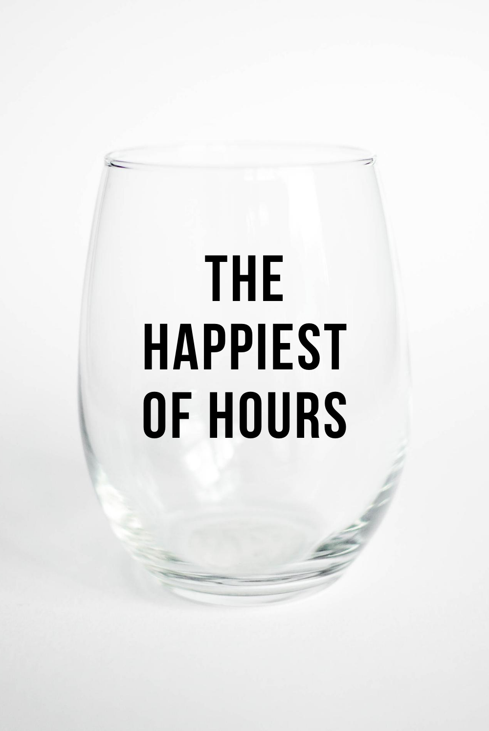 Happy Hour - Stemless Wine Glass