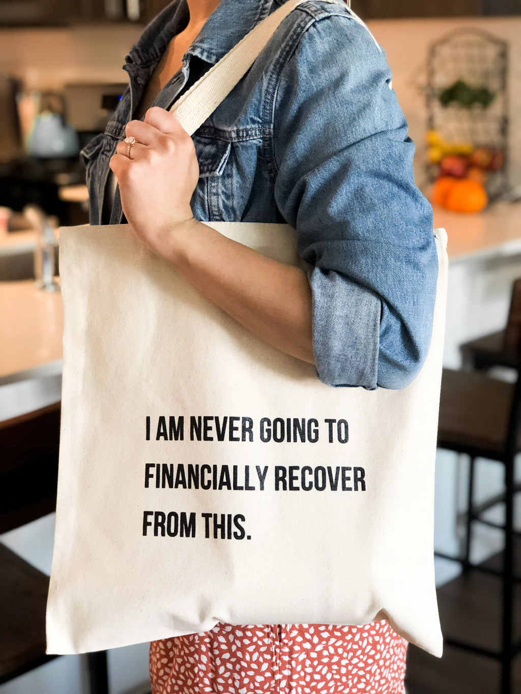 'Never Financially Recover' Reusable Canvas Tote Bag