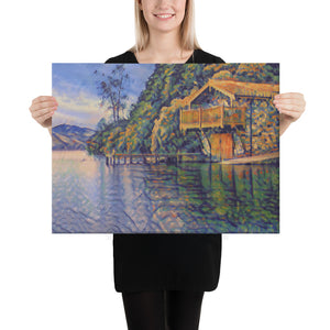 Dream Boat House near the lake, Canvas