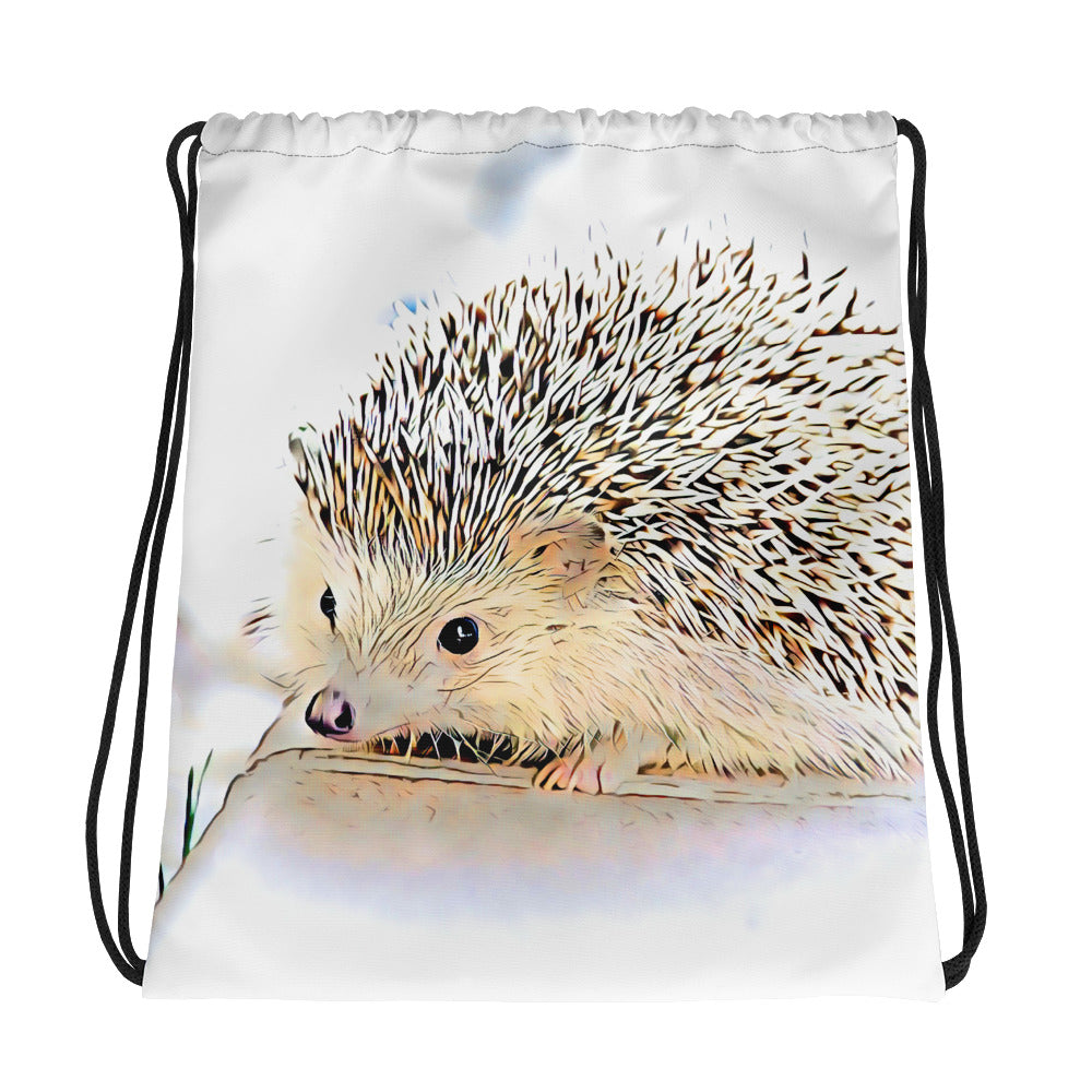 Forest drawstring bag featuring a hedgehog
