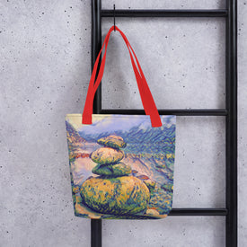 Norway lake stone sculpture tote bag