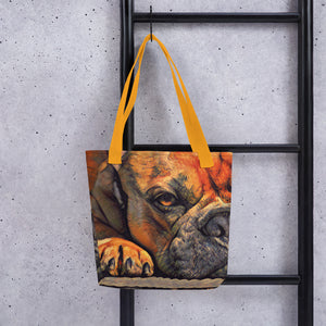 Resting dog painting tote bag