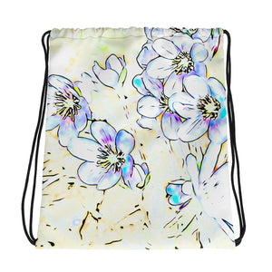 Spring flowers drawstring bag