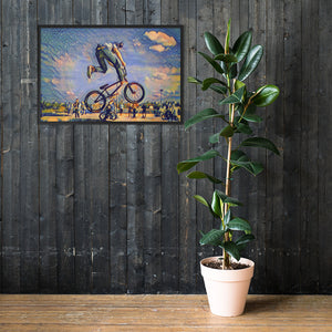 Framed matte paper poster of a bicycle stunt