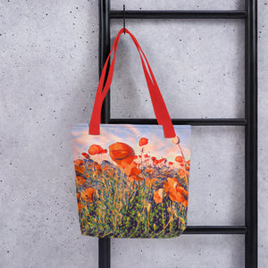 Watercolor poppy seed field tote bag