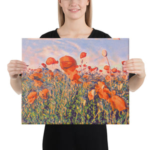 Popper Seed Flower Field, Canvas