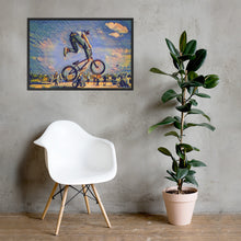 Load image into Gallery viewer, Framed matte paper poster of a bicycle stunt