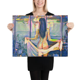 Beautiful naked woman with a scarf, Canvas