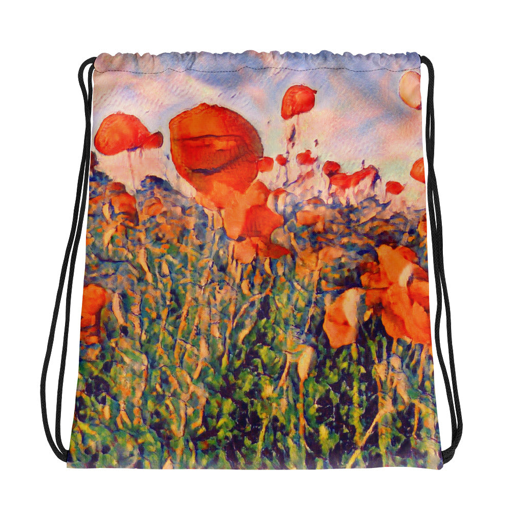 Watercolor poppy seed field drawstring bag