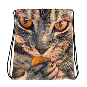 Watercolor painting of a cat on a drawstring bag