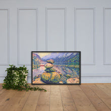 Load image into Gallery viewer, Rocks by the lake in Norway, Framed poster